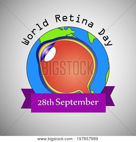 illustration of eye on earth background with World Retina Day 28th September text on the occasion of World Retina Day