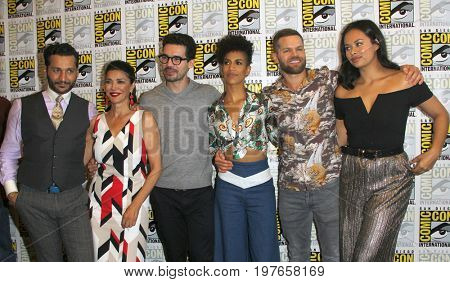 SAN DIEGO - July 22:  Cas Anvar, Shohreh Aghdashloo, Steven Strait, Dominique Tipper, Wes Chatham, Frankie Adams at the Comic-Con International Convention on July 22, 2017 in San Diego, CA