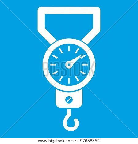 Spring scale icon white isolated on blue background vector illustration