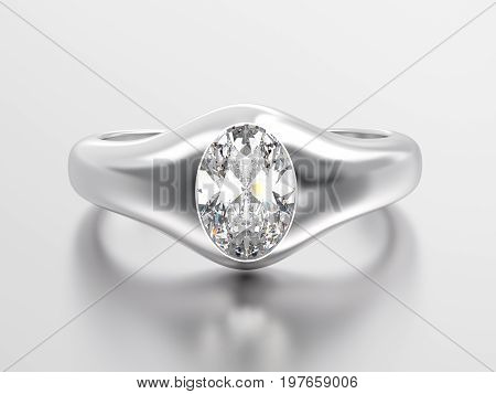 3D illustration white gold or silver classic ring with diamond with reflaction on a grey background