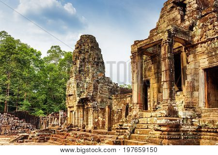 One Of Entrances To Ancient Bayon Temple, Angkor Thom, Cambodia