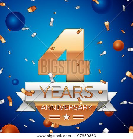 Realistic Four Years Anniversary Celebration Design. Golden numbers and silver ribbon, confetti on blue background. Colorful Vector template elements for your birthday party. Anniversary ribbon