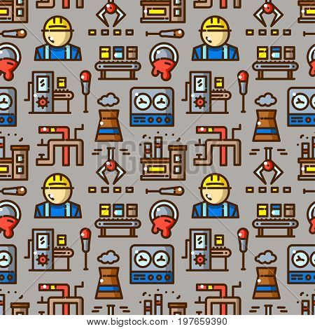 Factory seamless pattern with objects in line style, heavy industry vector illustration