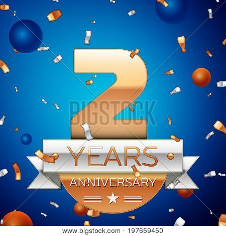 Realistic Two Years Anniversary Celebration Design. Golden numbers and silver ribbon, confetti on blue background. Colorful Vector template elements for your birthday party. Anniversary ribbon