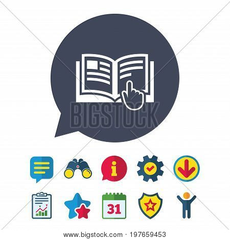 Instruction sign icon. Manual book symbol. Read before use. Information, Report and Speech bubble signs. Binoculars, Service and Download, Stars icons. Vector