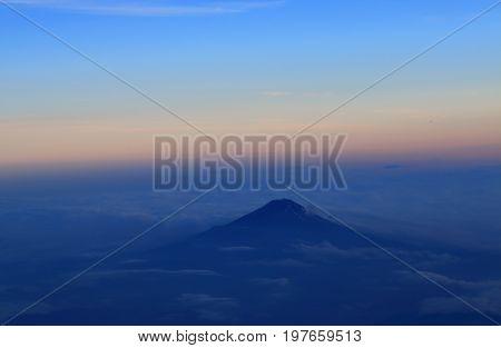 Aerial view of Mt Fuji landscape Japan
