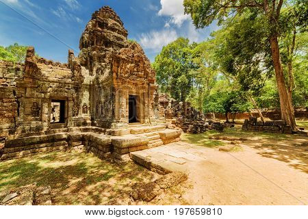 Ancient Gopura Of Ta Som Temple. Angkor, Siem Reap, Cambodia