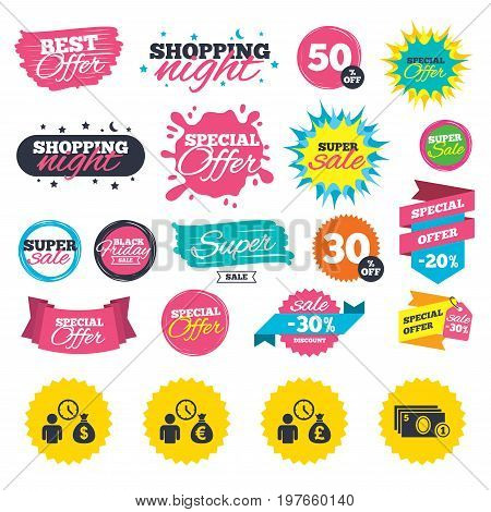 Sale shopping banners. Bank loans icons. Cash money bag symbols. Borrow money sign. Get Dollar money fast. Web badges, splash and stickers. Best offer. Vector