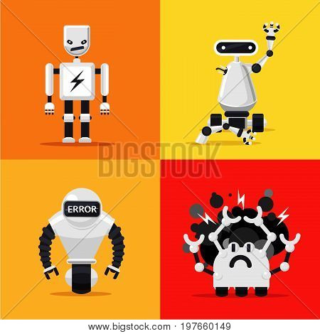 Set of broken mad robots set. Bad, errors and hacked programms. Flat style. Cartoon illustration. Isolated vector objects.