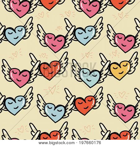 Happy flying hearts seamless pattern. Beautiful lovely hearts symbol of love of romanticism. Love template for greeting card gift vintage seamless background