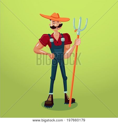 Funny farmer with a pitchfork. Isolated cartoon character. 3d style.