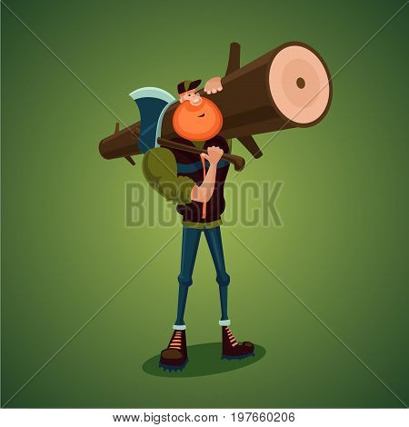 Woodcutter carries axe and big log. Isolated 3d cartoon character.