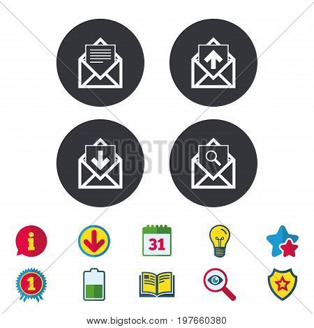 Mail envelope icons. Find message document symbol. Post office letter signs. Inbox and outbox message icons. Calendar, Information and Download signs. Stars, Award and Book icons. Vector