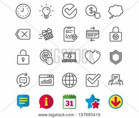 Report, Time and Globe line icons. Statistics, Speech bubble and Light bulb signs. Credit card, Download and Lock symbols. Gift delivery, Check and Protection Shield. Vector