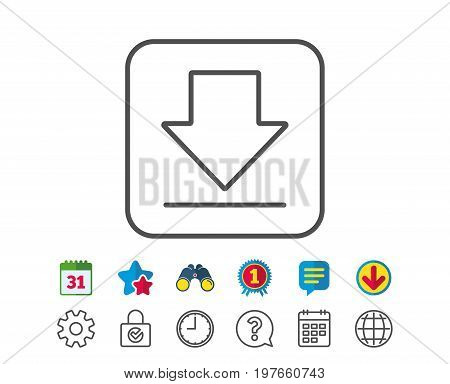 Download line icon. Internet Downloading sign. Load file symbol. Calendar, Globe and Chat line signs. Binoculars, Award and Download icons. Editable stroke. Vector