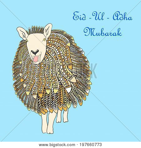 Greeting card template for Muslim Community Festival of sacrifice Eid-Ul-Adha with sheep. Vector Illustration.