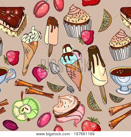 Sweets colorful seamless pattern. Ice cream sweets candies cakes tea drinking. Sweet seamless background hand drawn vector