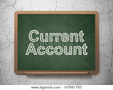 Money concept: text Current Account on Green chalkboard on grunge wall background, 3D rendering