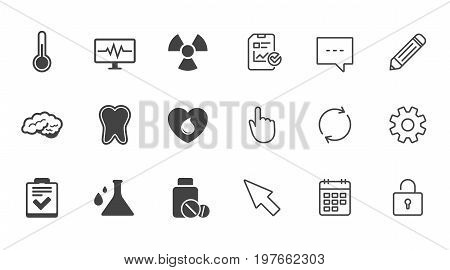 Medicine, medical health and diagnosis icons. Blood donate, thermometer and pills signs. Tooth, neurology symbols. Chat, Report and Calendar line signs. Service, Pencil and Locker icons. Vector