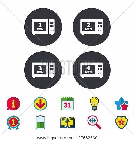 Microwave oven icons. Cook in electric stove symbols. Heat 1, 2, 3 and 4 minutes signs. Calendar, Information and Download signs. Stars, Award and Book icons. Light bulb, Shield and Search. Vector
