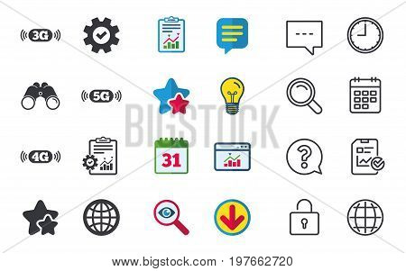 Mobile telecommunications icons. 3G, 4G and 5G technology symbols. World globe sign. Chat, Report and Calendar signs. Stars, Statistics and Download icons. Question, Clock and Globe. Vector