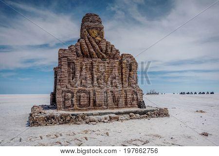 Dakar Rally Monument in Salar de Uyuni ( Salt Lake) Bolivia