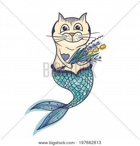 Creative sketch sea kitty undine illustration on white background
