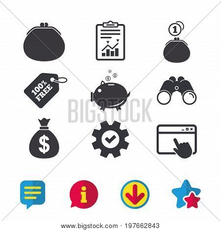 Wallet with cash coin and piggy bank moneybox symbols. Dollar USD currency sign. Browser window, Report and Service signs. Binoculars, Information and Download icons. Stars and Chat. Vector