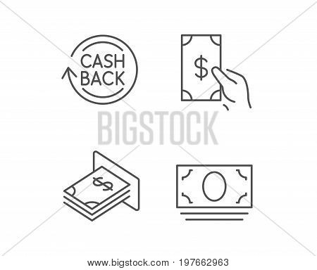 Money, Cashback and ATM line icons. Cash, Currency and Banking signs. Dolla or USD symbol. Quality design elements. Editable stroke. Vector