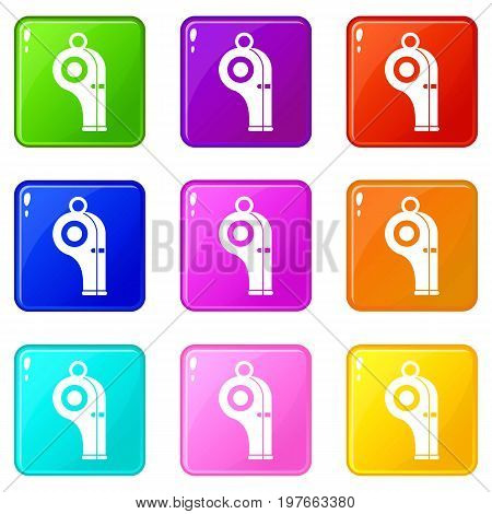 Sport whistle icons of 9 color set isolated vector illustration