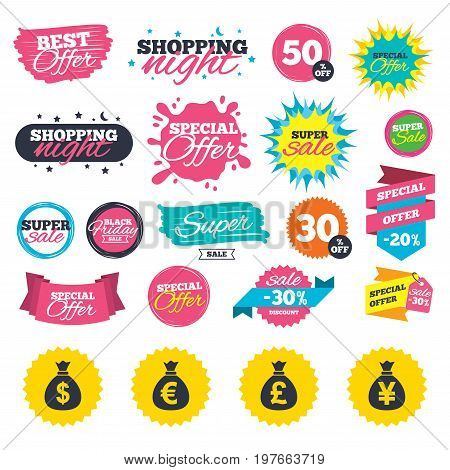 Sale shopping banners. Money bag icons. Dollar, Euro, Pound and Yen symbols. USD, EUR, GBP and JPY currency signs. Web badges, splash and stickers. Best offer. Vector