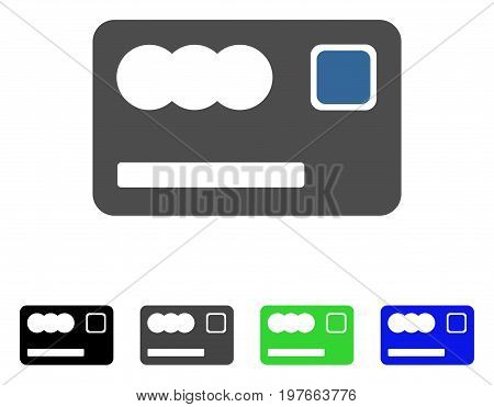 Banking Card flat vector illustration. Colored banking card gray, black, blue, green icon versions. Flat icon style for application design.