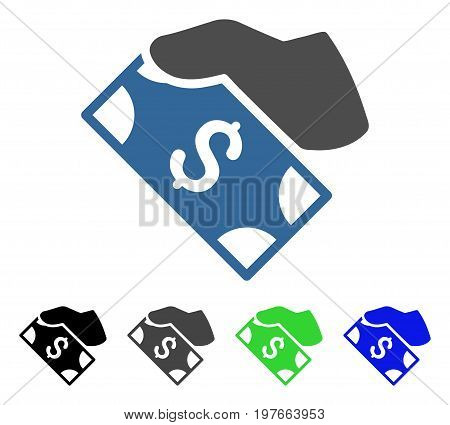 Cash Payment Hand flat vector pictogram. Colored cash payment hand gray, black, blue, green icon variants. Flat icon style for graphic design.