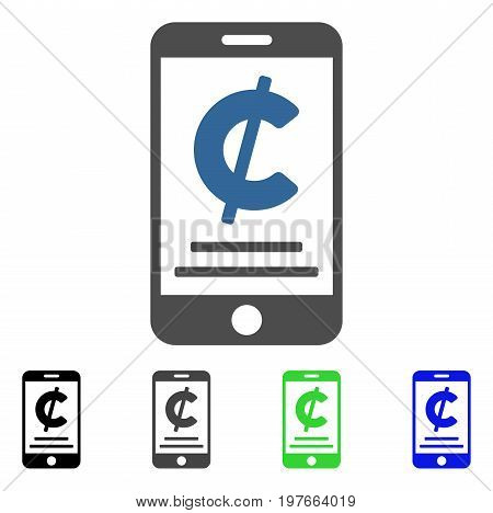 Cent Mobile Payment flat vector illustration. Colored cent mobile payment gray, black, blue, green pictogram versions. Flat icon style for web design.
