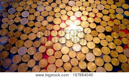 A lot of bright and shiny Euro coins