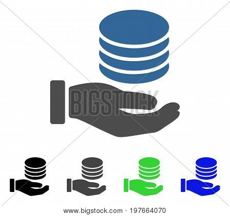 Coins Donation Hand flat vector illustration. Colored coins donation hand gray, black, blue, green icon versions. Flat icon style for graphic design.