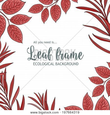 Square banner, frame of tree twigs, branches with fresh red leaves and round place for text, sketch vector illustration isolated on white background. Square frame of hand drawn twigs, leaves