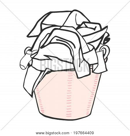 Clothes in the laundry basket. Hand drawn vector illustration for a laundry.