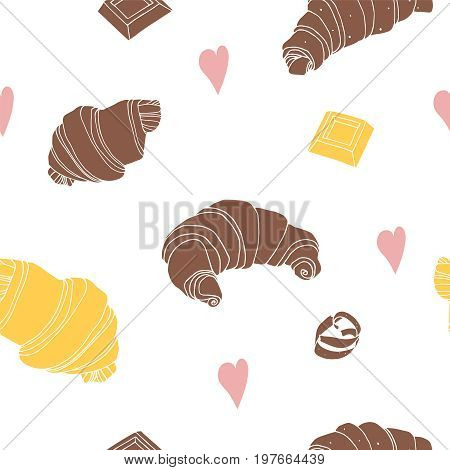 Seamless background with chocolate croissant, vanilla croissant, white chocolate. Hand drawn vector illustration.