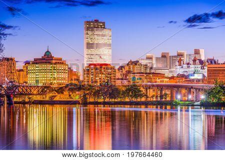 Albany, New York, USA skyline on the Hudson River.