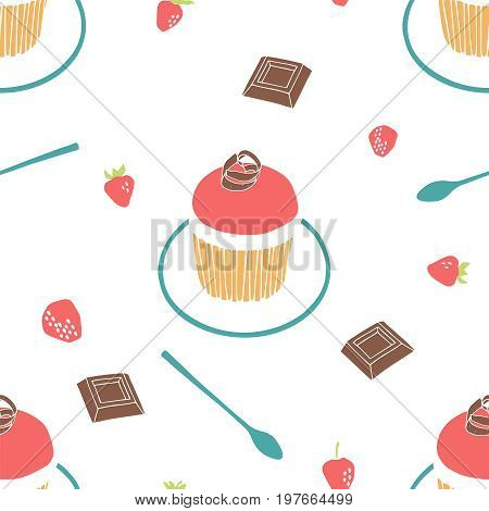 Strawberry muffin, chocolate, strawberry, saucer and a teaspoon. Seamless vector background.
