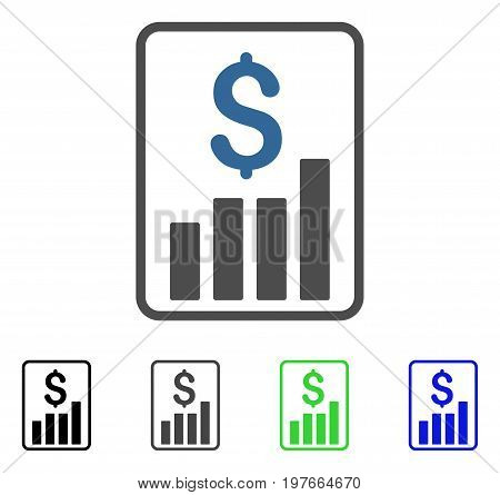 Financial Report flat vector illustration. Colored financial report gray, black, blue, green icon variants. Flat icon style for web design.