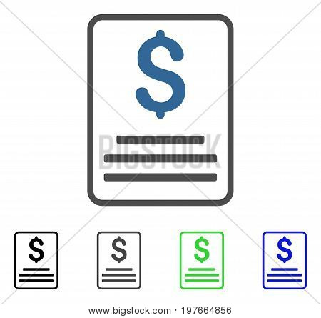 Invoice Budget flat vector illustration. Colored invoice budget gray, black, blue, green icon variants. Flat icon style for web design.