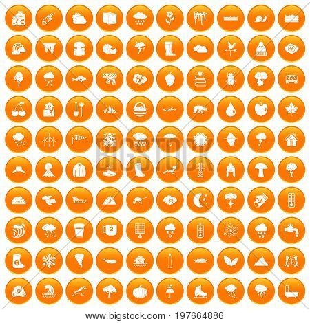 100 clouds icons set in orange circle isolated vector illustration