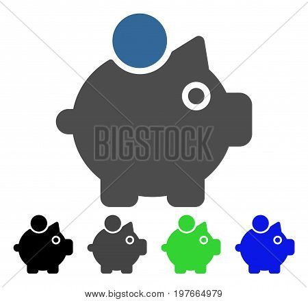 Piggy Bank flat vector illustration. Colored piggy bank gray, black, blue, green pictogram versions. Flat icon style for application design.