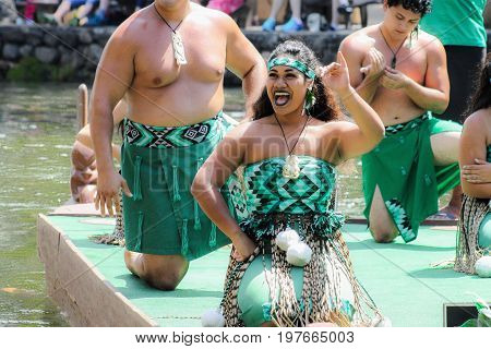 Honolulu Hawaii - May 27 2016: Maori Perfomers during the 'Rainbows of Paradise' Pageant at the Polynesian Cultural Center on Oahu.