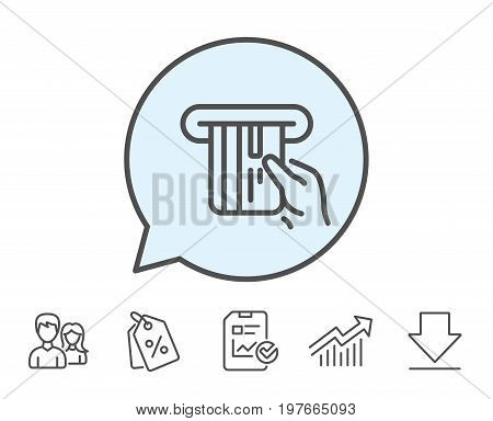 Credit card line icon. Hold Banking Payment card sign. ATM service symbol. Report, Sale Coupons and Chart line signs. Download, Group icons. Editable stroke. Vector