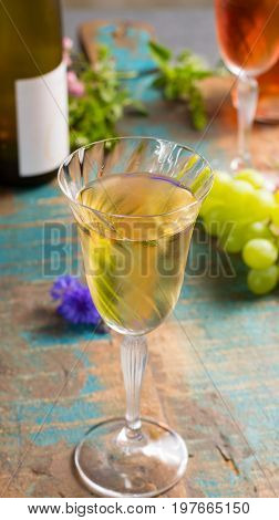Cold Summer Wines, White And Rose, Served In Beautiful Glasses On Terrace In Cafe With Romantic Flow