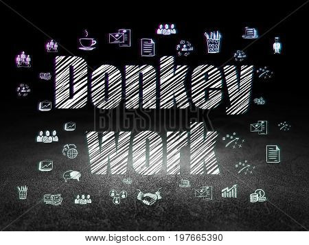 Business concept: Glowing text Donkey Work,  Hand Drawn Business Icons in grunge dark room with Dirty Floor, black background
