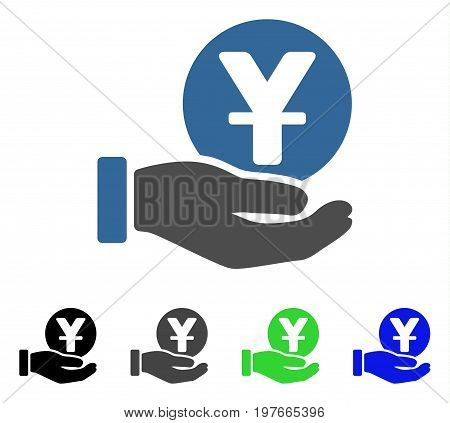 Yuan Coin Payment Hand flat vector pictograph. Colored yuan coin payment hand gray, black, blue, green icon versions. Flat icon style for application design.